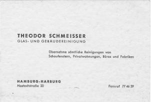 Visitenkarte Theodor Schmeisser von 1930